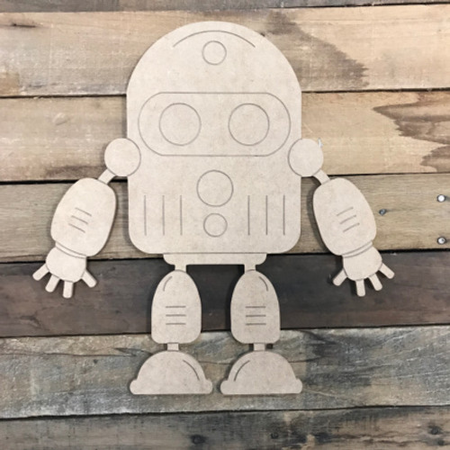 Robot, Unfinished Wooden Cutout Craft, Paint by Line