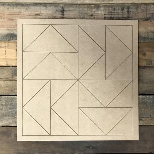 Quilt Pattern 3 DIY, Unfinished Wood Cutout, Paint by Line