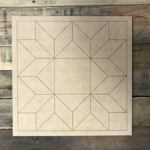 Quilt Pattern 6 DIY, Unfinished Wood Cutout, Paint by Line