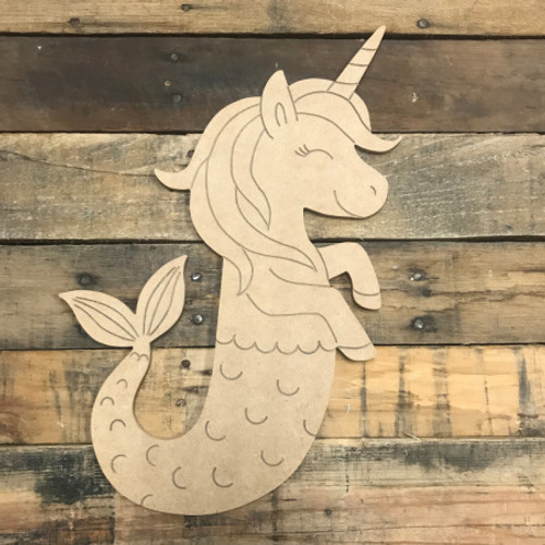 Unicorn Seahorse, Unfinished Wooden Cutout Craft, Paint by Line