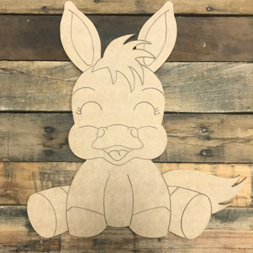 Kid Donkey, Unfinished Wooden Cutout Craft, Paint by Line