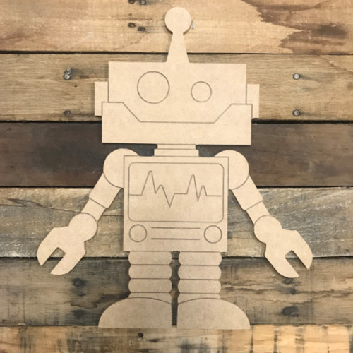 Original Robot, Unfinished Wooden Cutout Craft, Paint by Line