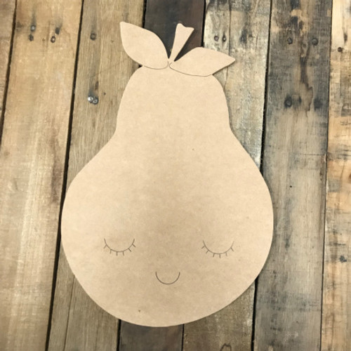 Pear, Unfinished Wooden Cutout Craft, Paint by Line