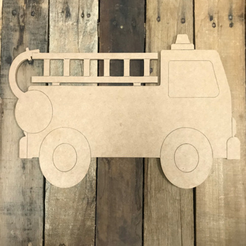 Fire truck, Unfinished Wooden Cutout Craft, Paint by Line