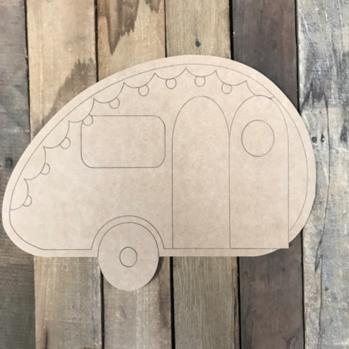 Camper, Unfinished Wooden Cutout Craft, Paint by Line