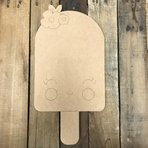 Popsicle with Flower, Unfinished Wooden Cutout Craft, Paint by Line