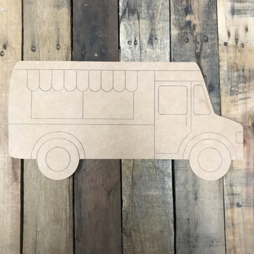 Ice Cream truck, Unfinished Wooden Cutout, Paint by Line