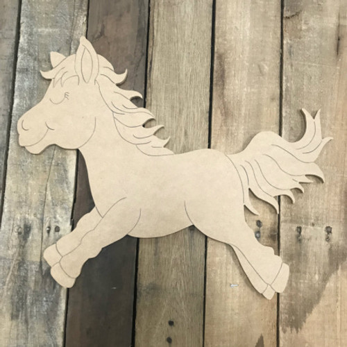 Horsey, Unfinished Wooden Cutout Craft, Paint by Line