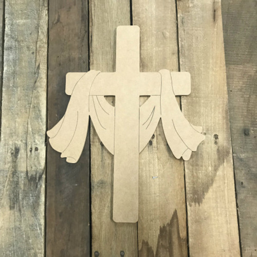 Cross of Jesus Christ, Unfinished Wooden Cutout Craft, Paint by Line