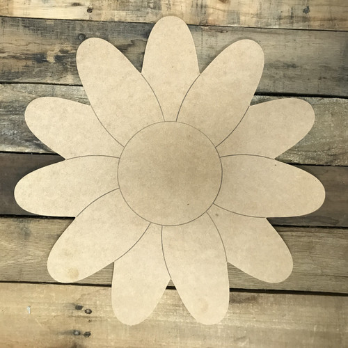 Sunflower 2, Unfinished Wooden Cutout Craft, Paint by Line