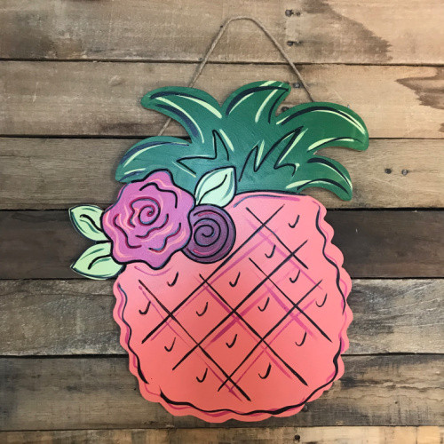 Pineapple, Unfinished Wood Cutout, Paint by Line