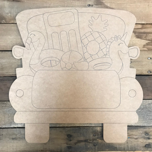 Pool Floaty Truck, Unfinished Wood Cutout, Paint by Line