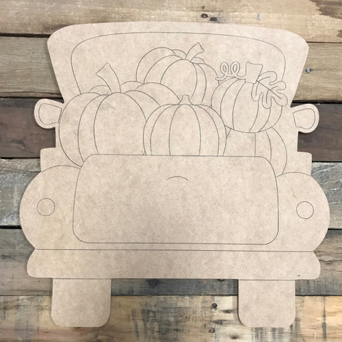Pumpkin Truck, Unfinished Wood Cutout, Paint by Line