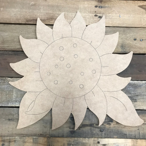 Large Sunflower, Unfinished Wooden Cutout Craft, Paint by Line