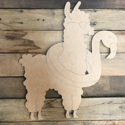 Llama/Alpaca with Floaty, Unfinished Wooden Craft, Paint by Line