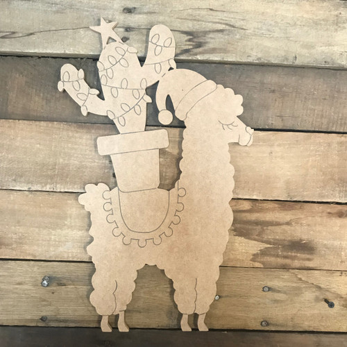 Llama with Christmas Cactus, Unfinished Wood Cutout, Paint by Line