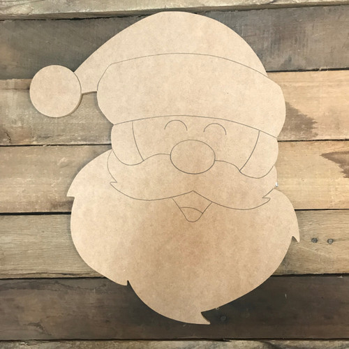 Santa Head, Unfinished Wooden Craft, Paint by Line