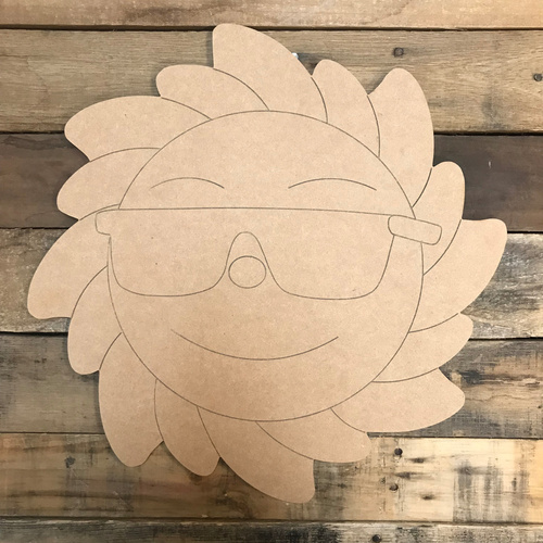 Sun with Sunglasses, Unfinished Craft, Paint by Line