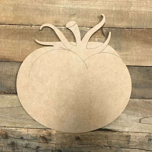 Tomato Wood Cutout, Unfinished Craft, Paint by Line