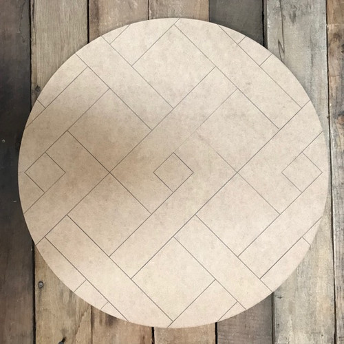 Stitched Circle Quilt, Wooden Paintable, Paint by Line