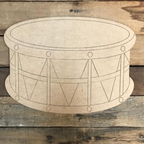 Drum Instrument Cutout, Wood Shape, Paint by Line