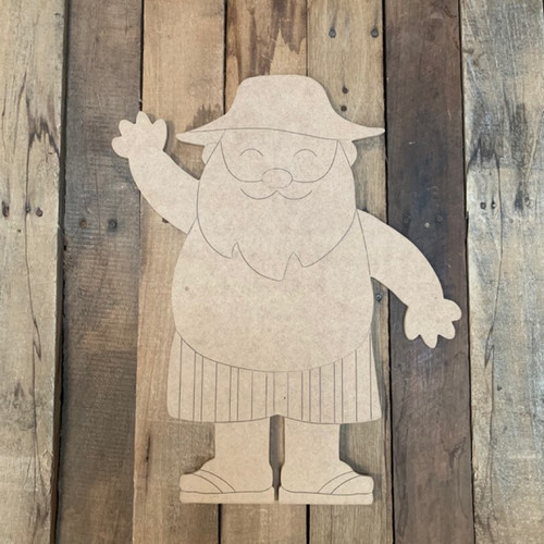 Summer Santa Cutout, Unfinished Shape, Paint by Line