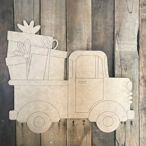 Old Style Truck with Christmas Presents Cutout, Shape, Paint by Line