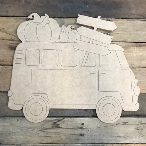 RV With Pumpkin and Banner Cutout, Shape, Paint by Line