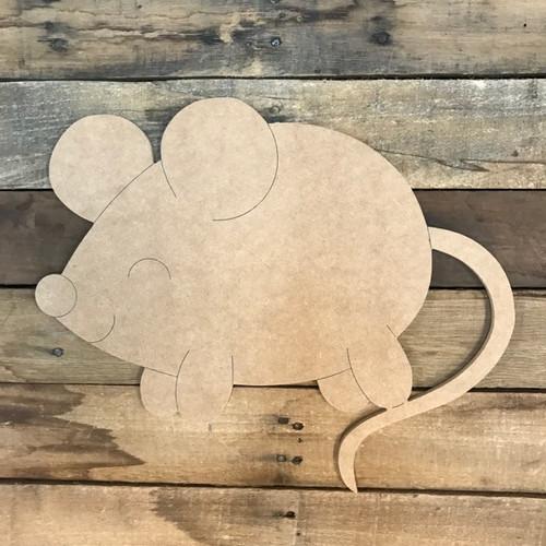 Mouse Cutout, Unfinished Shape, Paint by Line