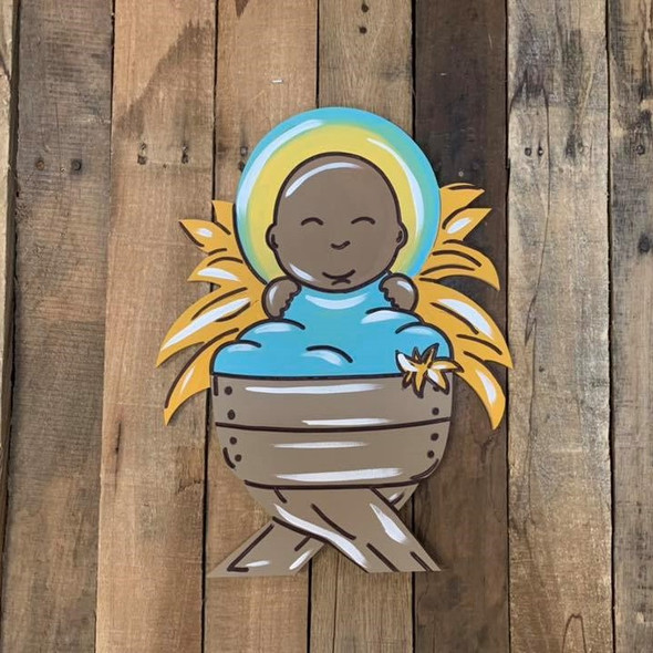 Baby in Manger Cutout, Shape, Paint by Line