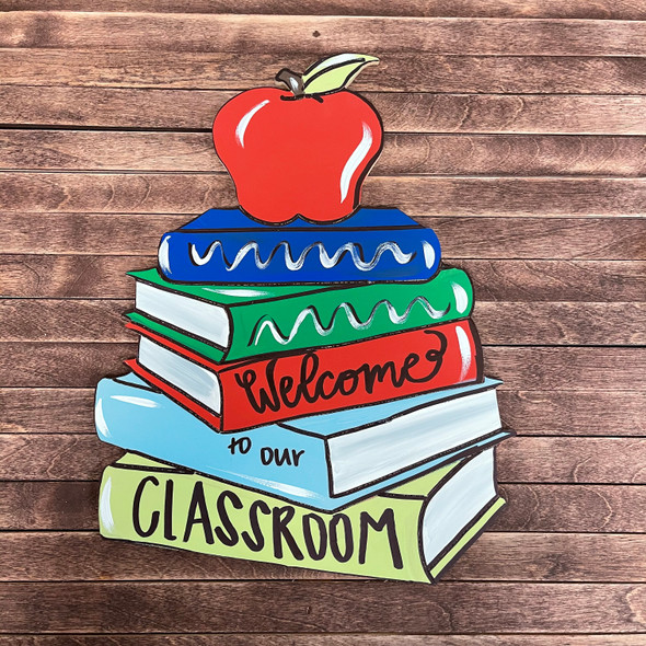 Apple on Books Cutout, Shape, Paint by Line