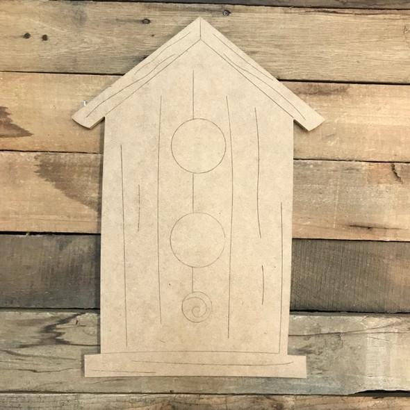 Birdhouse Cutout, Unfinished Shape, Paint by Line