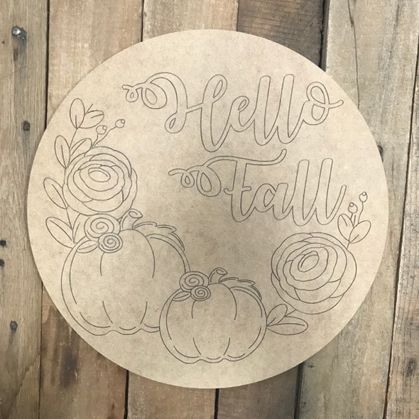 Hello Fall Circle Cutout, Shape, Paint by Line