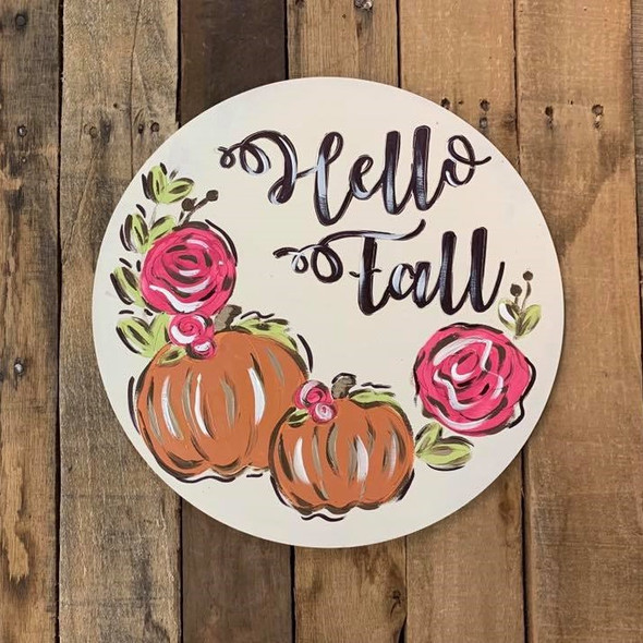 Hello Fall Circle Cutout, Shape, Paint by Line