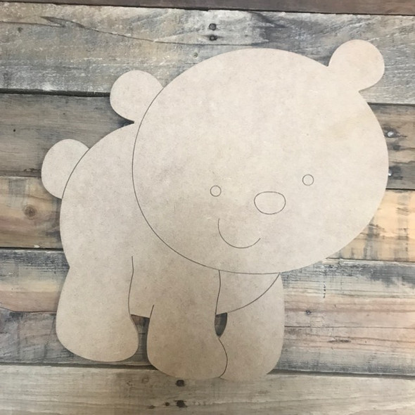 Baby Bear Cutout, Unfinished Shape, Paint by Line