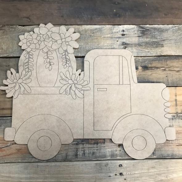 Succulent Truck Cutout, Unfinished Shape, Paint by Line