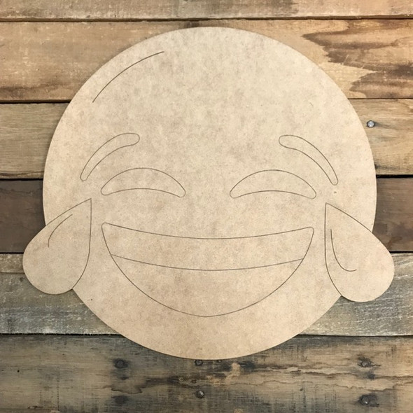 Laughing Emoji, Unfinished Shape, Paint by Line