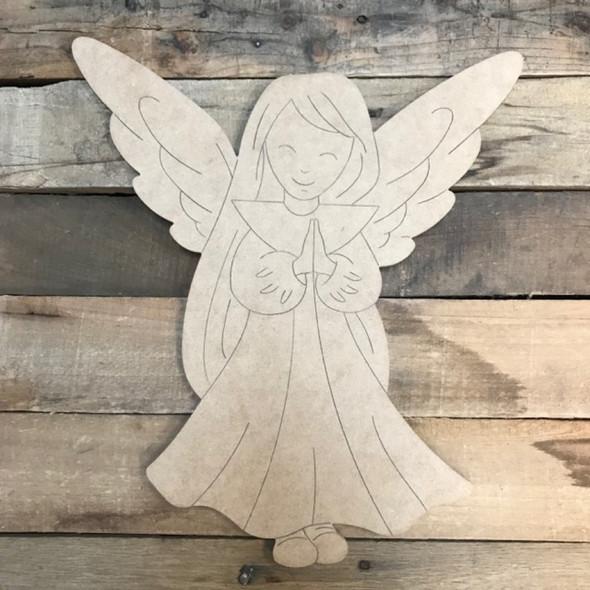 Praying Angel, Wood Cutout, Shape, Paint by Line