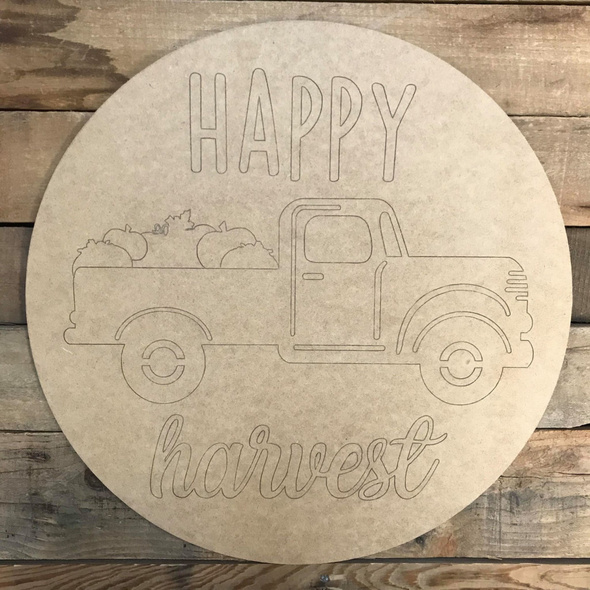 Happy Harvest Circle, Wood Cutout, Shape, Paint by Line