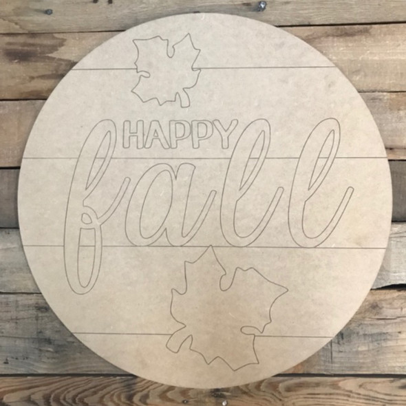 Happy Fall Circle, Wood Cutout, Shape, Paint by Line