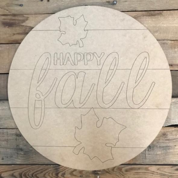 Happy Fall Circle, Wood Cutout, Shape, Paint by Line