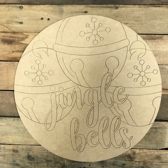 Jingle Bell Circle, Wood Cutout, Shape, Paint by Line