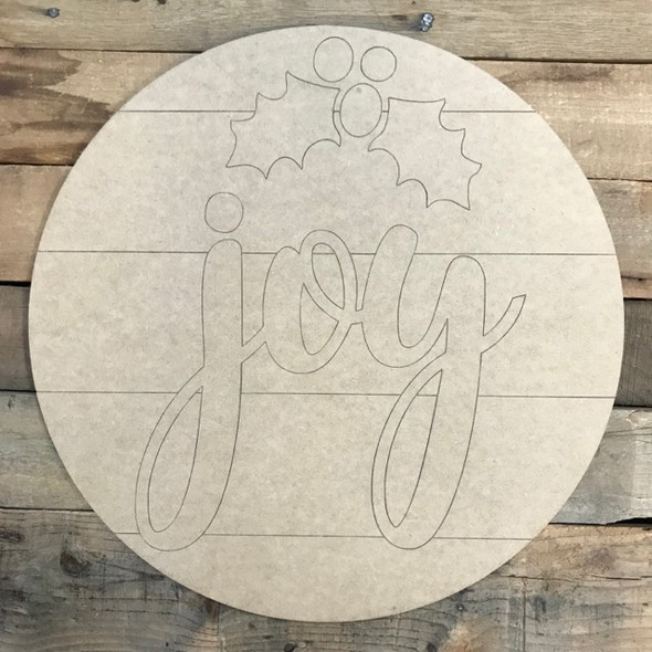 Joy with Holly Berry Circle, Wood Cutout, Shape, Paint by Line