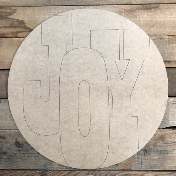 Joy Block Circle, Wood Cutout, Shape, Paint by Line