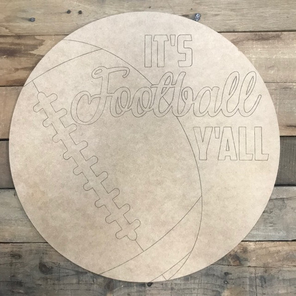 Football Circle, Wood Cutout, Shape, Paint by Line