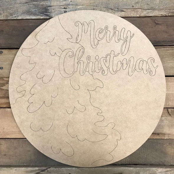 Merry Christmas with Tree Circle, Wood Cutout, Shape, Paint by Line