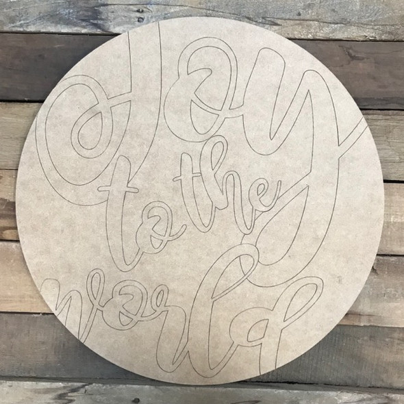 Joy to the World Circle, Wood Cutout, Shape, Paint by Line