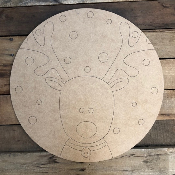 Reindeer Circle, Wood Cutout, Shape, Paint by Line