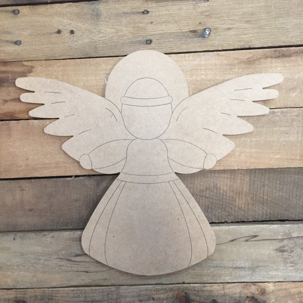 Angel Cutout, Unfinished Shape, Paint by Line