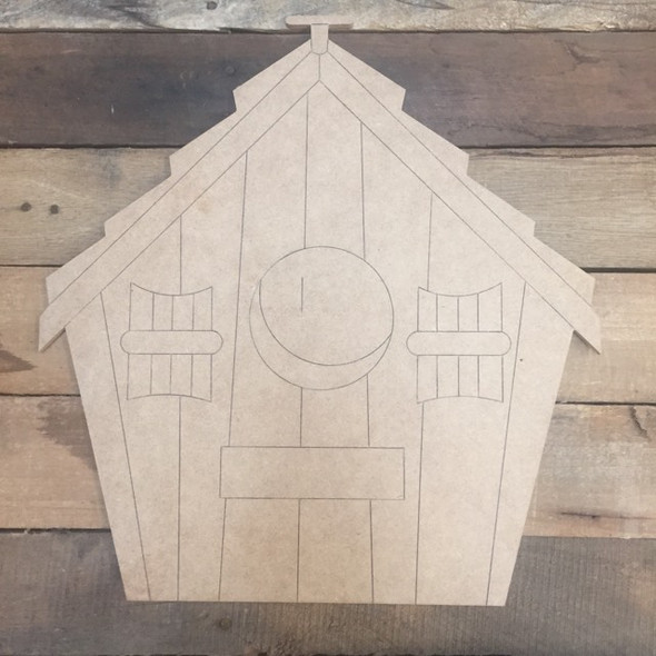 Bird House, Wood Cutout, Shape, Paint by Line